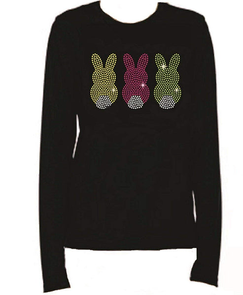 Bling Rhinestone Easter Bunny 3 Long Sleeve-Round Neck Bling T-Shirt RJDX