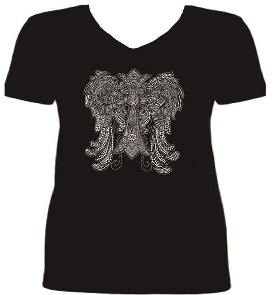 Bling Rhinestone Crystal Wings 7000 Rhinestone Ladies T Shirt sv KR6Z