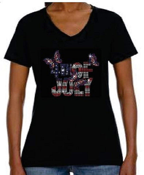 Bling Rhinestone Womens T Shirt 4th July Flag Butterfly JRW-675 - SV