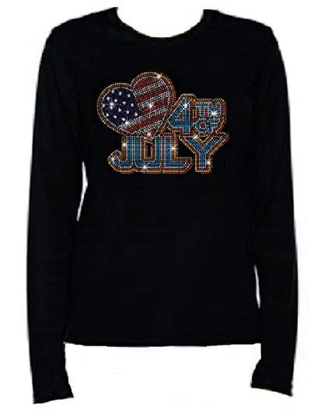 Bling Rhinestone Womens 4th of July  T Shirt Big Heart / 4th July JRW-677 - LC