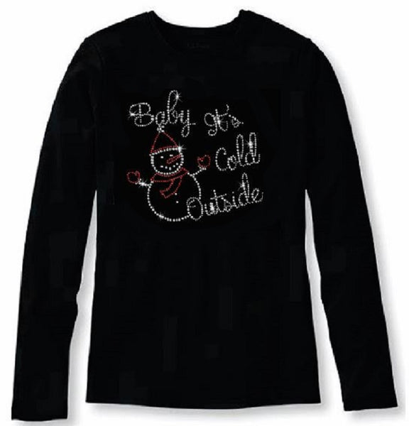 Bling Christmas Baby It's Cold Outside Women's t shirt XMA-352-LR