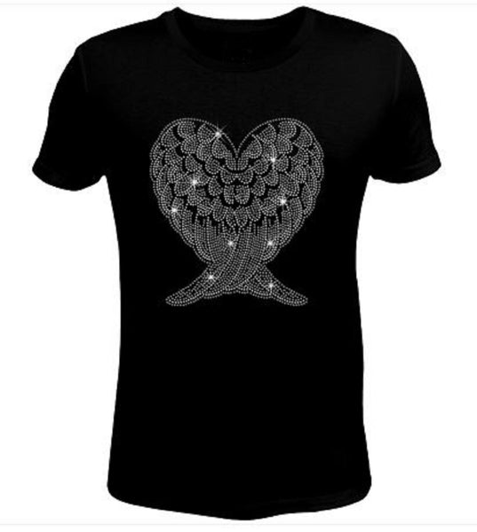 Bling Rhinestone Big Eagle Wings Lightweight T-Shirt-SC-WIN-108