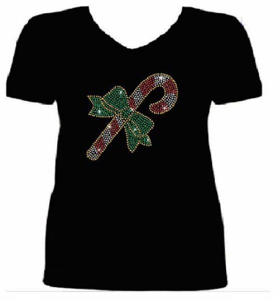 Bling Christmas Candy Cane Women's t shirt XMA-341-SV