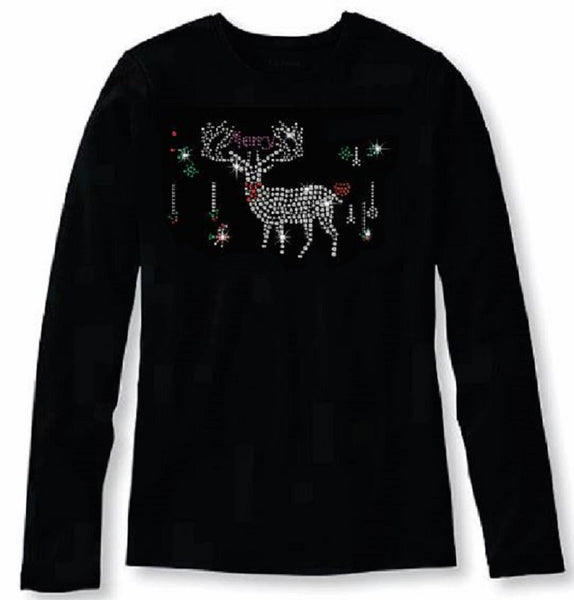 Bling Christmas Reindeer Women's t shirt XMA-348-LR