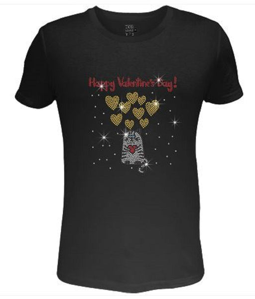 Bling Cat Hold The Heart Valentines Day Womens T Shirt VAL-214-SC