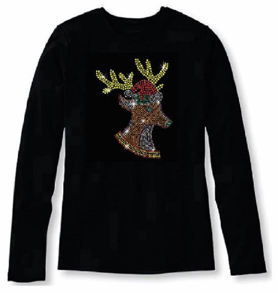 Bling Christmas Reindeer Women's t shirt XMA-339-LR