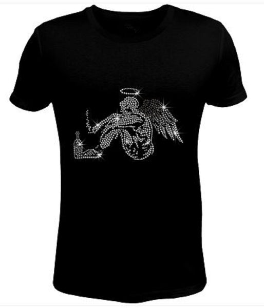Bling Rhinestone Womens T Shirt Fallen Angel JRW-232-SC