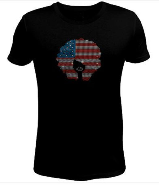 Bling Rhinestone Womens T Shirt Girl with American Flag Hair -SC-LAD-375