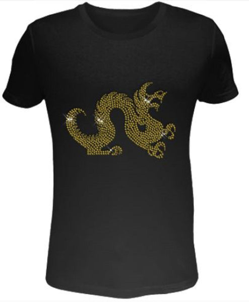 Bling Rhinestone Womens T Shirt Gold Dragon SC-DRA-015