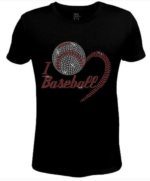 Bling Rhinestone Womens T Shirt I Love Baseball JRW-347-sc