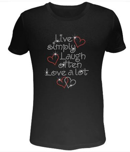 Bling Rhinestone Womens T Shirt Live Simple Laugh Often Love A Lot SC-LET-387