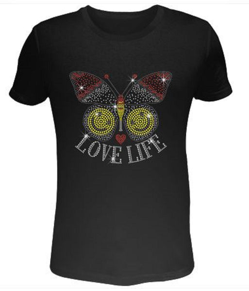 Bling Rhinestone Womens T Shirt Love Life SC-EMJ-003