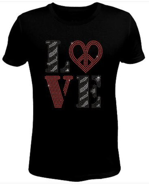 Bling Rhinestone Womens T Shirt Love SC-VAL-049