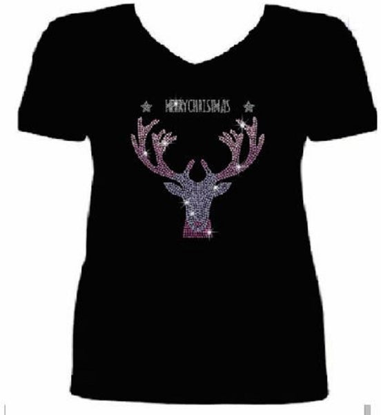 Bling Christmas Cool Reindeer Women's t shirt XMA-468-SV