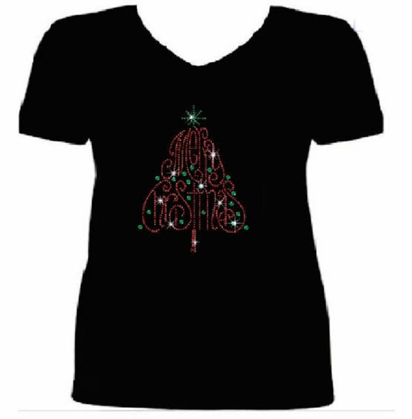 Bling Merry Christmas Tree Women's t shirt XMA-355-SV