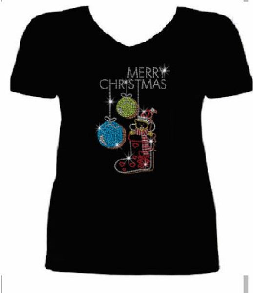 Bling Christmas Small Bear Women's t shirt XMA-467-SV