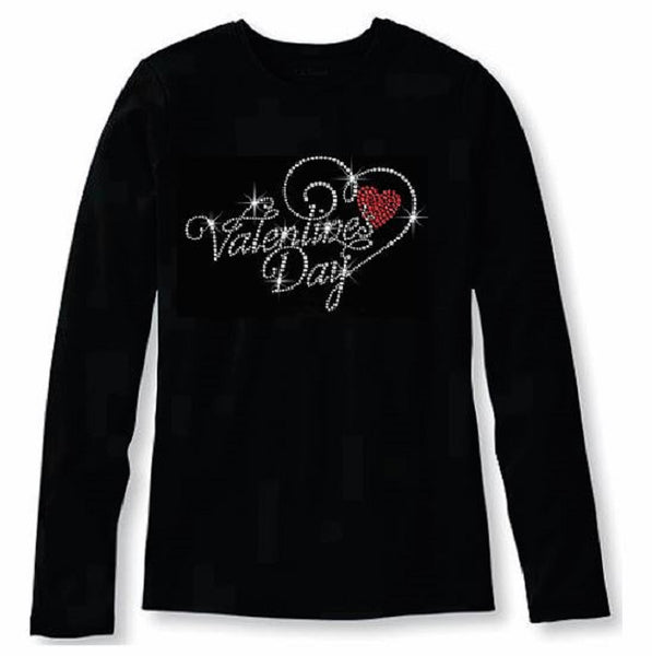 Bling Sparkling Valentines Day Womens T Shirt VAL-190-LC