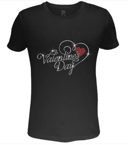 Bling Sparkling Valentines Day Womens T Shirt VAL-190-SC