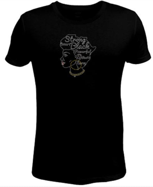 Bling Rhinestone Womens T Shirt Smart Strong And Powerful Afro Lady -SC-LAD-458
