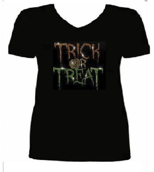 Bling Halloween Trick Treat Women's t Shirt HAL-129-SV