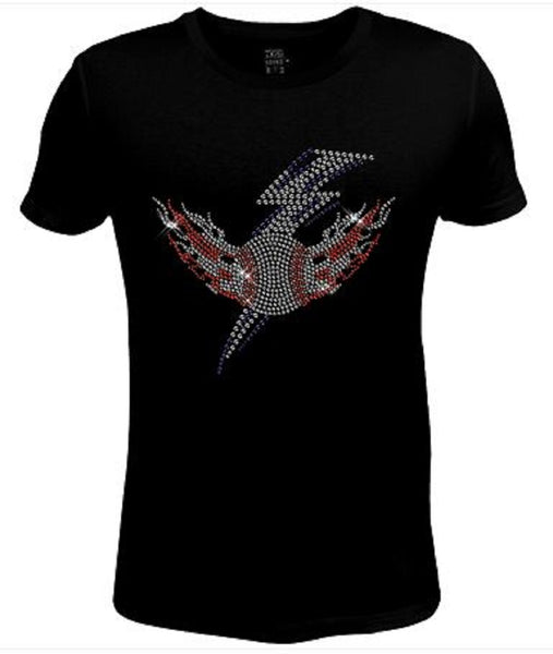 Bling Rhinestone Womens T Shirt Baseball Wings JRW-344-sc