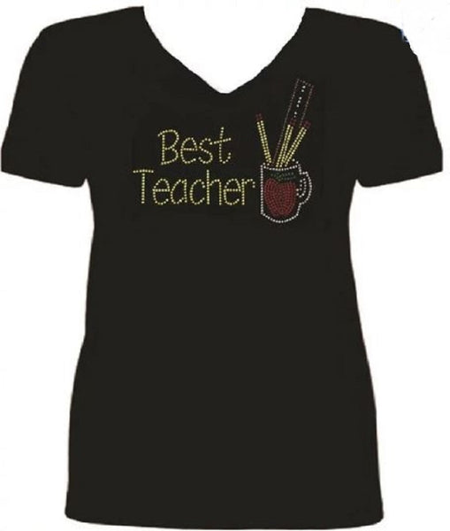 Bling Best Teacher Rhinestone Ladies T Shirt sv AVW3