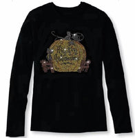 Bling Halloween with Big Pumpkin Women's t Shirt HAL-120-LR