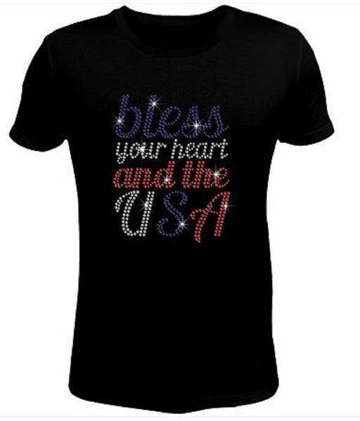 Bling Rhinestone Womens 4th of July T Shirt Bless Your Heart JRW-706-SC