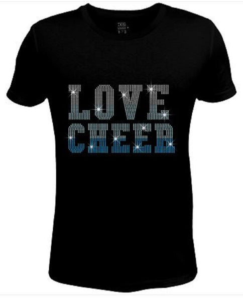 Bling Womens T Shirt Blue Love Cheer JRW-453-SC