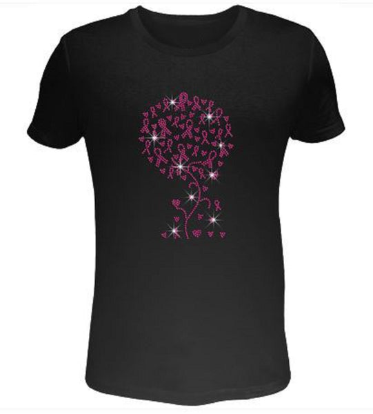 Bling Rhinestone Womens T Shirt Pink Ribbon Tree with Love SC-PIK-125