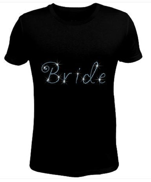 Bling Rhinestone Womens T Shirt Bride Light Sapphire JRW-153