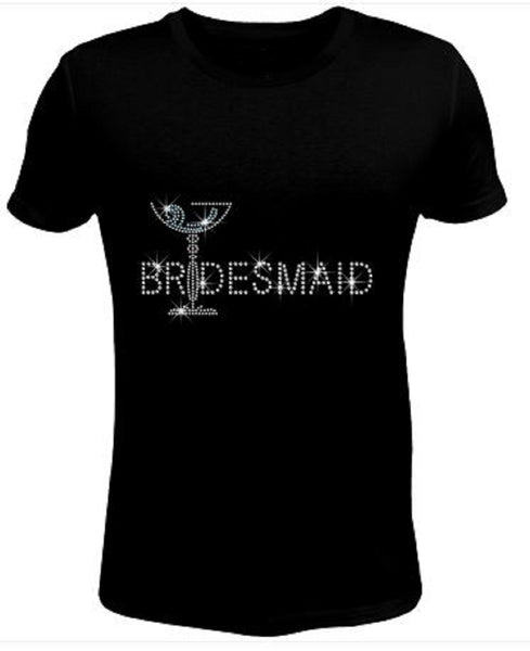 Bling Rhinestone Womens T Shirt Bridemaid JRW-139