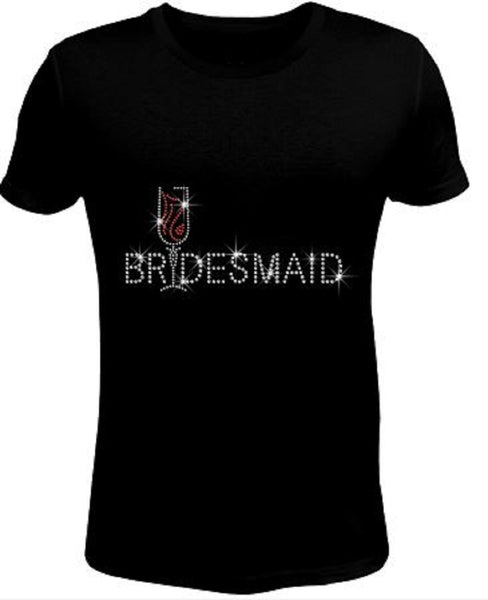 Bling Rhinestone Womens T Shirt Bridemaid JRW-140-SC