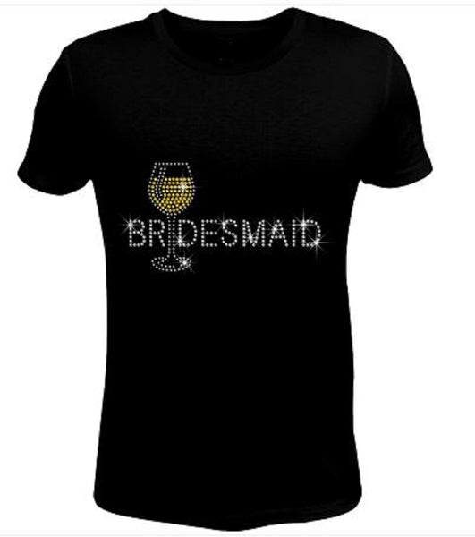 Bling Rhinestone Womens T Shirt Bridemaid JRW-141-SC