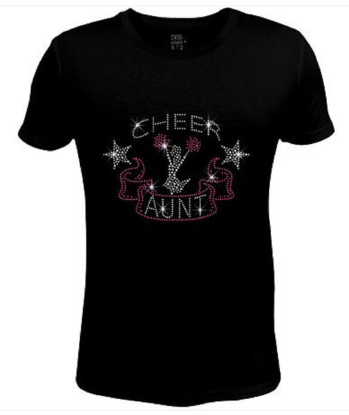 Bling Womens T Shirt Cheer Aunt with Ribbon JRW-460-SC