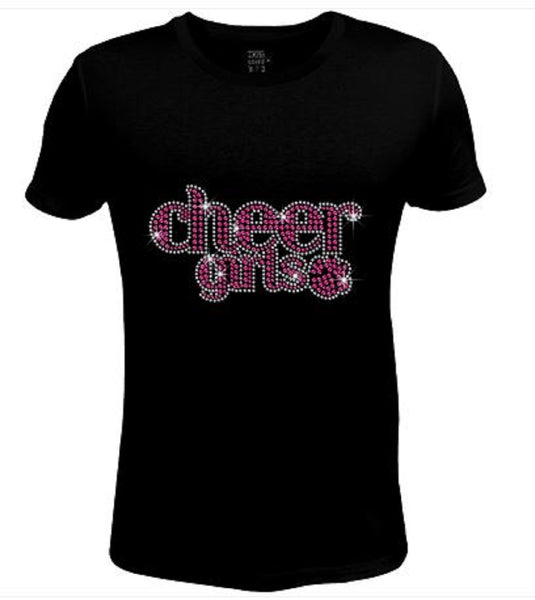 Bling Womens T Shirt Pink Cheer Girl JRW-466-SC
