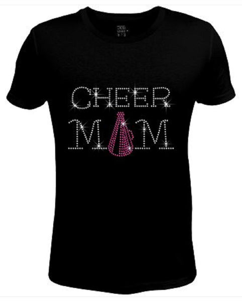 Bling Womens T Shirt Cheer Mom Megaphoner JRW-454-SC