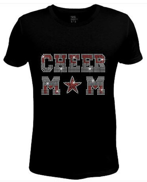 Bling Womens T Shirt Love And Cheer Star Pink / Crystal JRW-425-SC