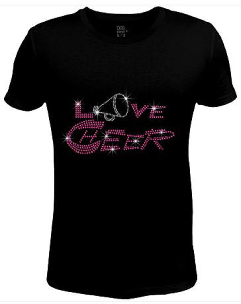 Bling Womens T Shirt Pink Love Cheer JRW-470-SC