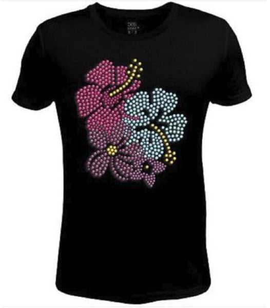 Rhinestone Womens T Shirt Colorful Beach Flower  JRW-611