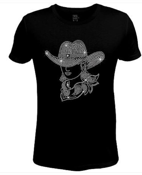 Bling Rhinestone Womens T Shirt Cowgirl Mary Lou JRW-501-SC