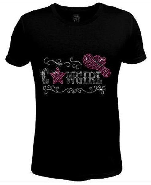 Bling Rhinestone Womens T Shirt Cowgirl forever Pink JRW-539-sc