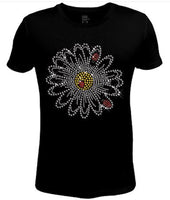 Rhinestone Womens T Shirt Lady Bugs with Flower JRW-622