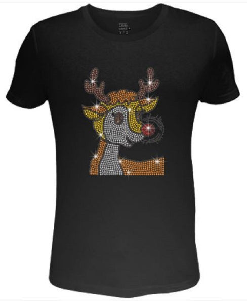 Bling Christmas Cute Reindeer Women's t shirt XMA-421-SC