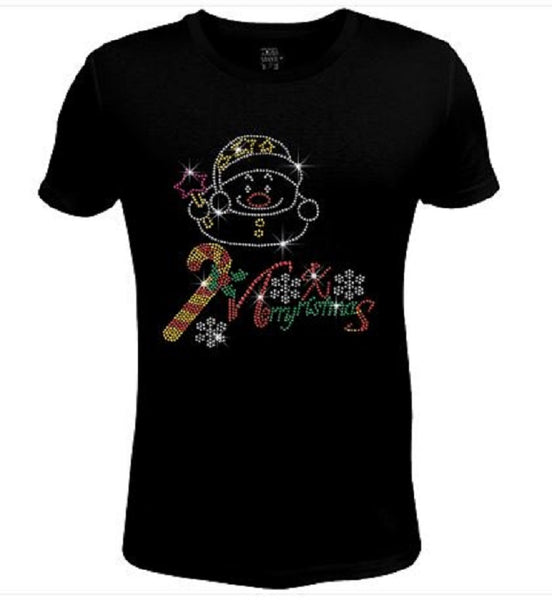 Bling Christmas Cute Snowman Women's t shirt XMA-319-SC