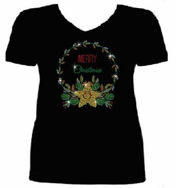 Bling Christmas Cute Star Women's t shirt XMA-449-SV