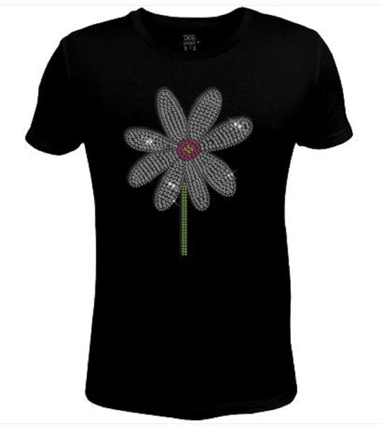 Rhinestone Womens T Shirt Cute Daisy Flower  JRW-617