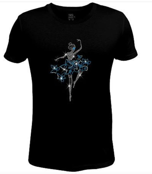 Bling Rhinestone Womens T Shirt Elegant Dancer in Flower Dress JRW-557-SC
