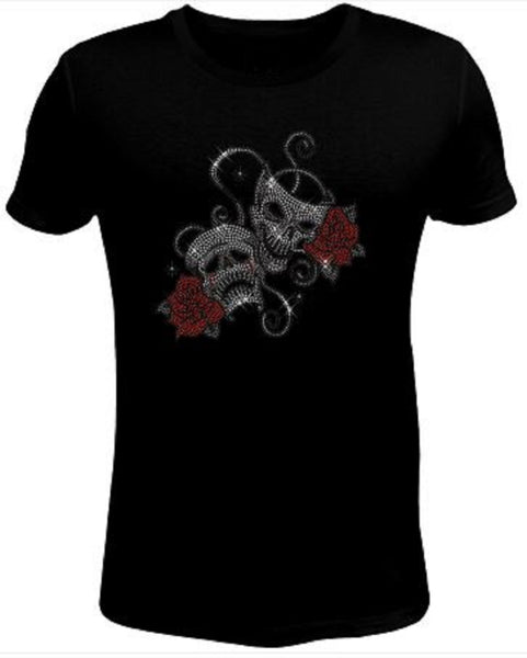 Bling Rhinestone Womens T Shirt Double Skulls- SKU-107-SC
