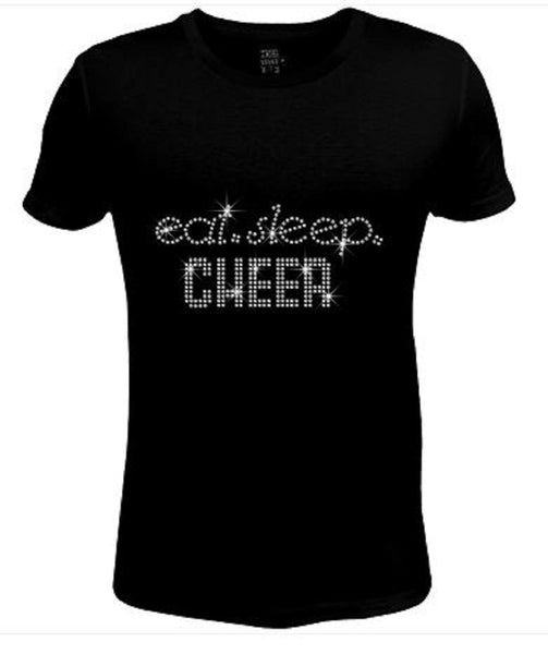Bling Womens T Shirt Eat, Sleep Cheer JRW-411-SC